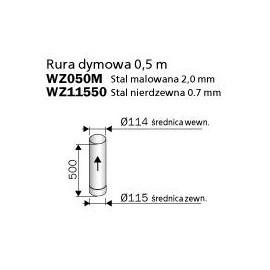 rura dymowa 500mm - Harvia WZ11550M - stal nierdzewna