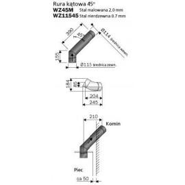 łącznik kominowy 45 st. - Harvia WZ45M - malowana stal