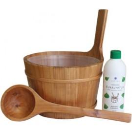 Ceber drewniany + chochla + aromat Emendo 500 ml eukaliptus
